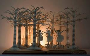 Three fairies Book Sculpture