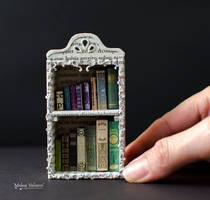 Miniature Bookcase with tiny books