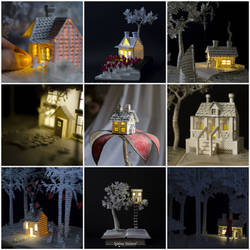 Miniature Houses attached to some of my Sculptures