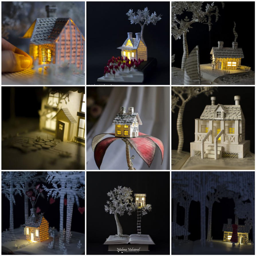 Miniature Houses attached to some of my Sculptures by MalenaValcarcel