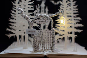 Entrance Gate to Halloween Hotel - Book Art