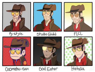 Sniper In Different Styles by JayGummyBuns