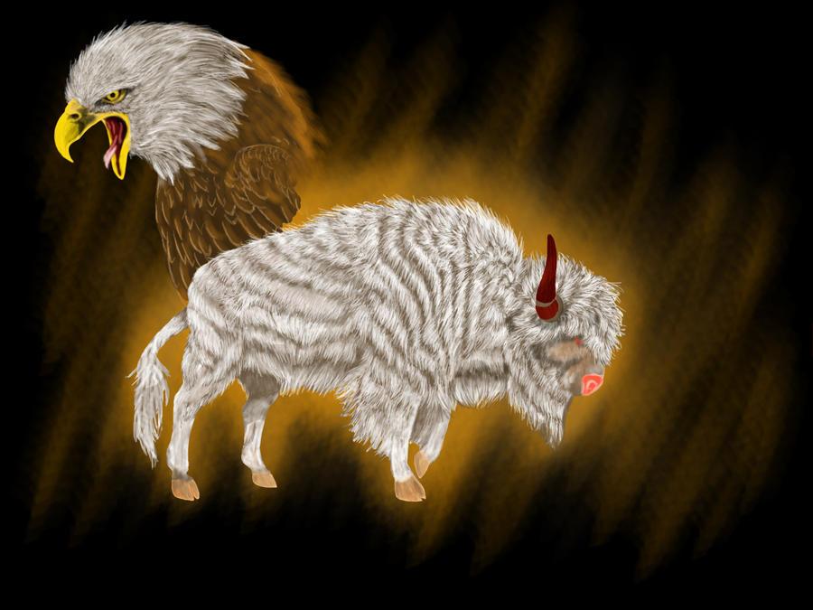 White Buffalo and Eagle by InuRyoko