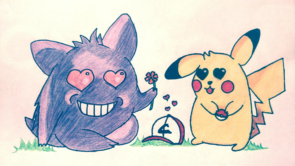 pikachu and gengar by MangoChutney94