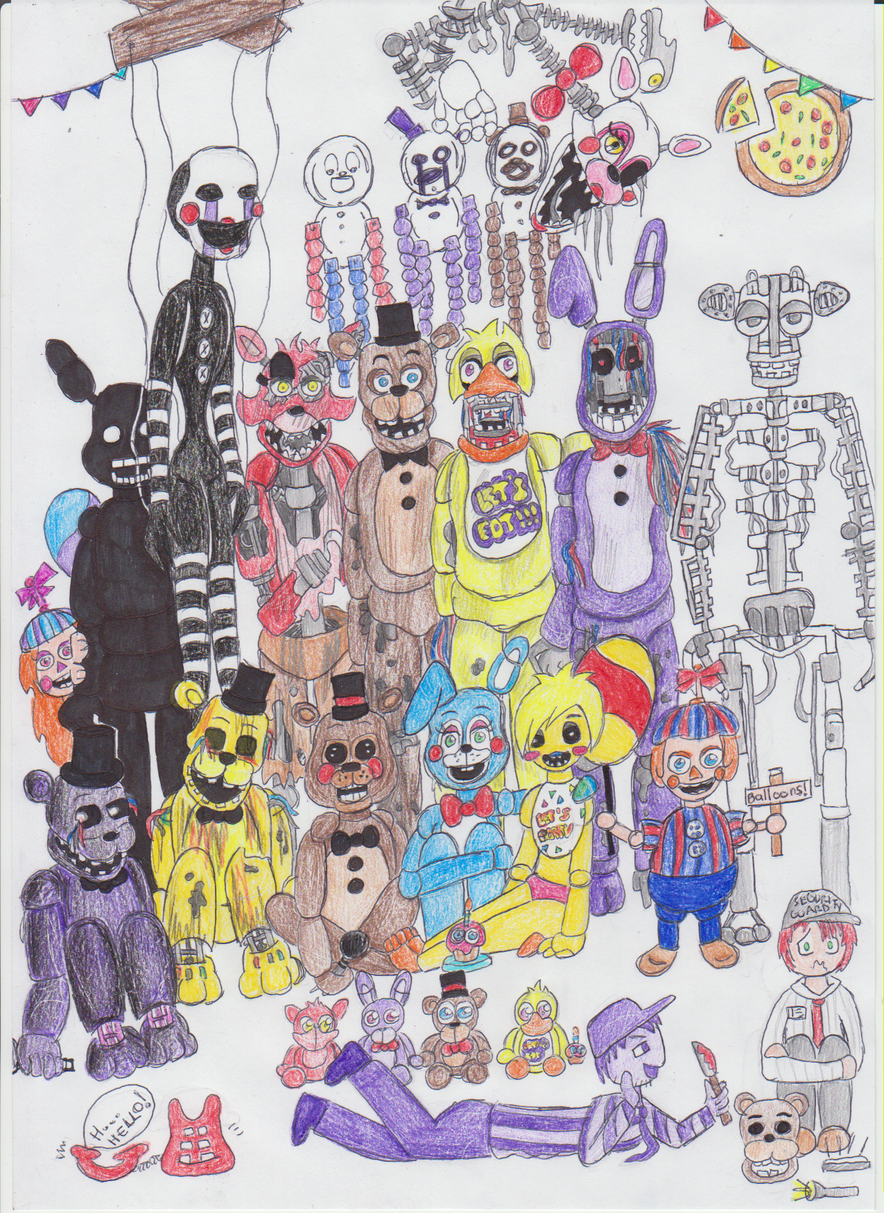 Fnaf characters drawing fnaf 2 all characters by