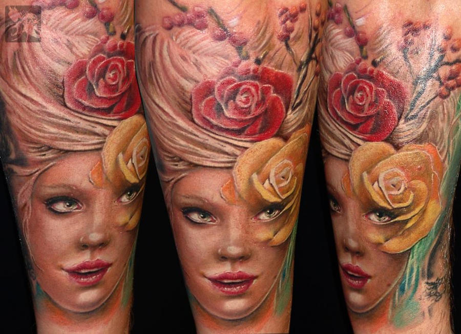 Girl with flowers by gabor jelencsik dublin ink by for Tattoo shops dublin