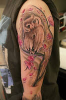 Owl with Cherry Blossoms by Sandor Konya by DublinInk