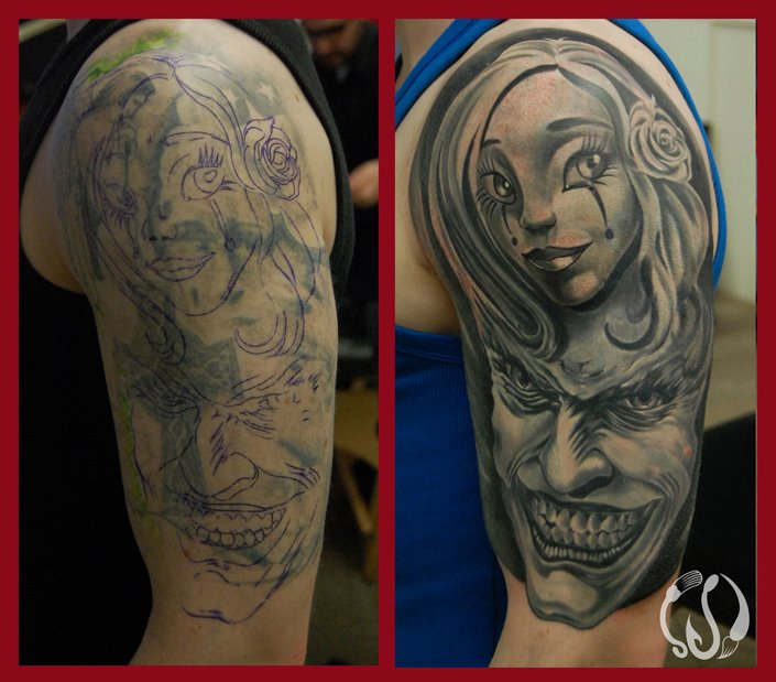 Harley Quinn + Joker(cover up)by Norbert Halasz by DublinInk