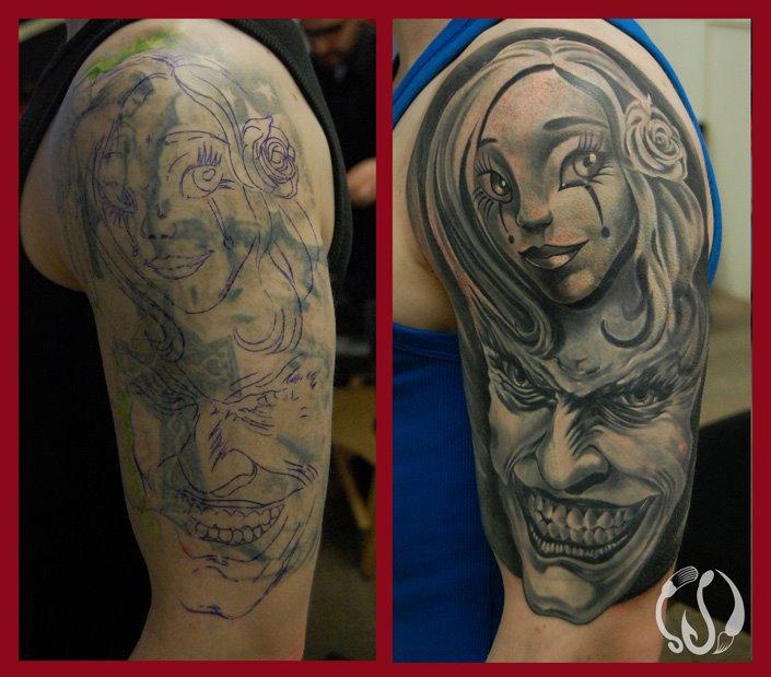Harley Quinn + Joker(cover up)by Norbert Halasz by DublinInk