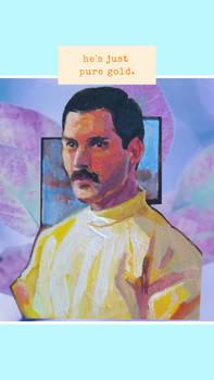 Freddie Mercury portrait handmade brooch
