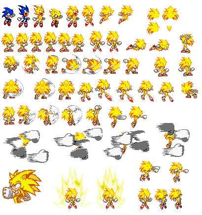 Super San Sonic Sprite by GirlsGangsGirls