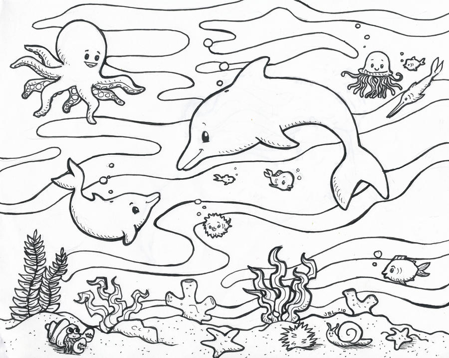 ocean coloring page by secondglance
