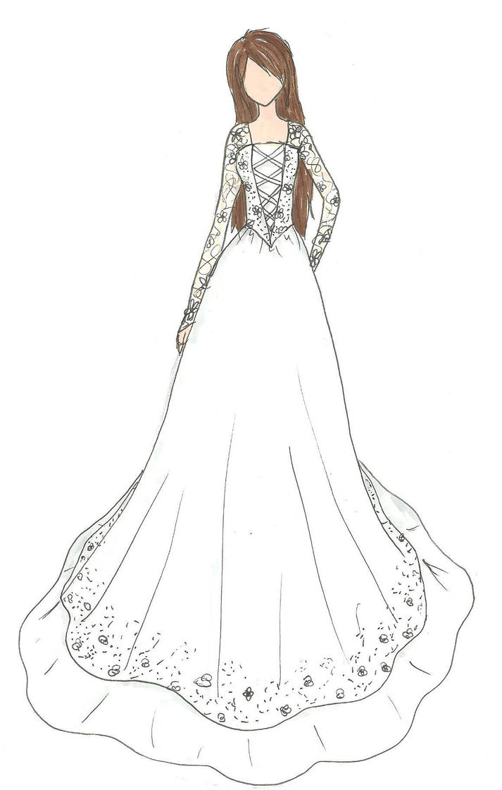 Wedding dress design by kiknessa on deviantart for How to draw a wedding dress