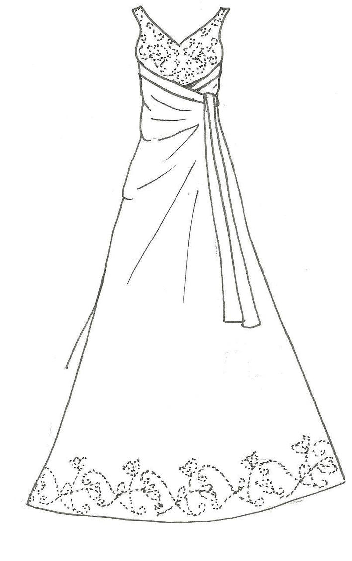 A line wedding dress by kiknessa on deviantart for Coloring pages of dresses