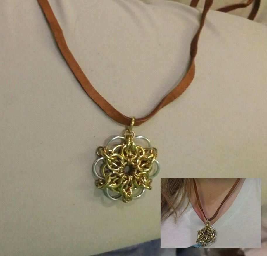 Chainmail Flower Pendant by PocketshNa