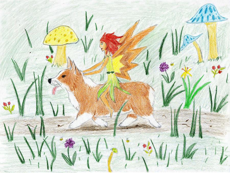 Fairy Riding a Corgi by DancingCorgi