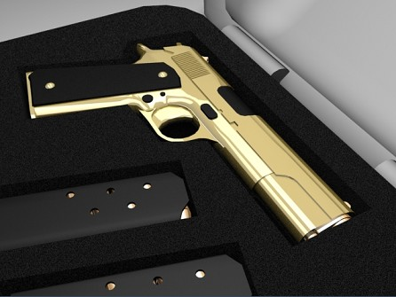 45 gun gold gold colt 45 by gunman57