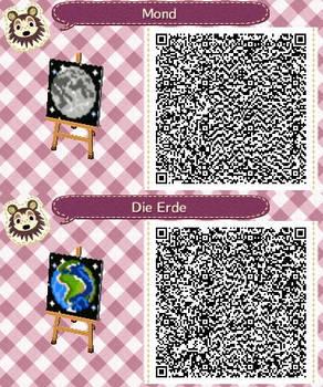 Erde/Earth + Mond/Moon ACNL QR-Codes
