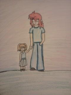 Kurama and his little girl. by kuramazbabigurl