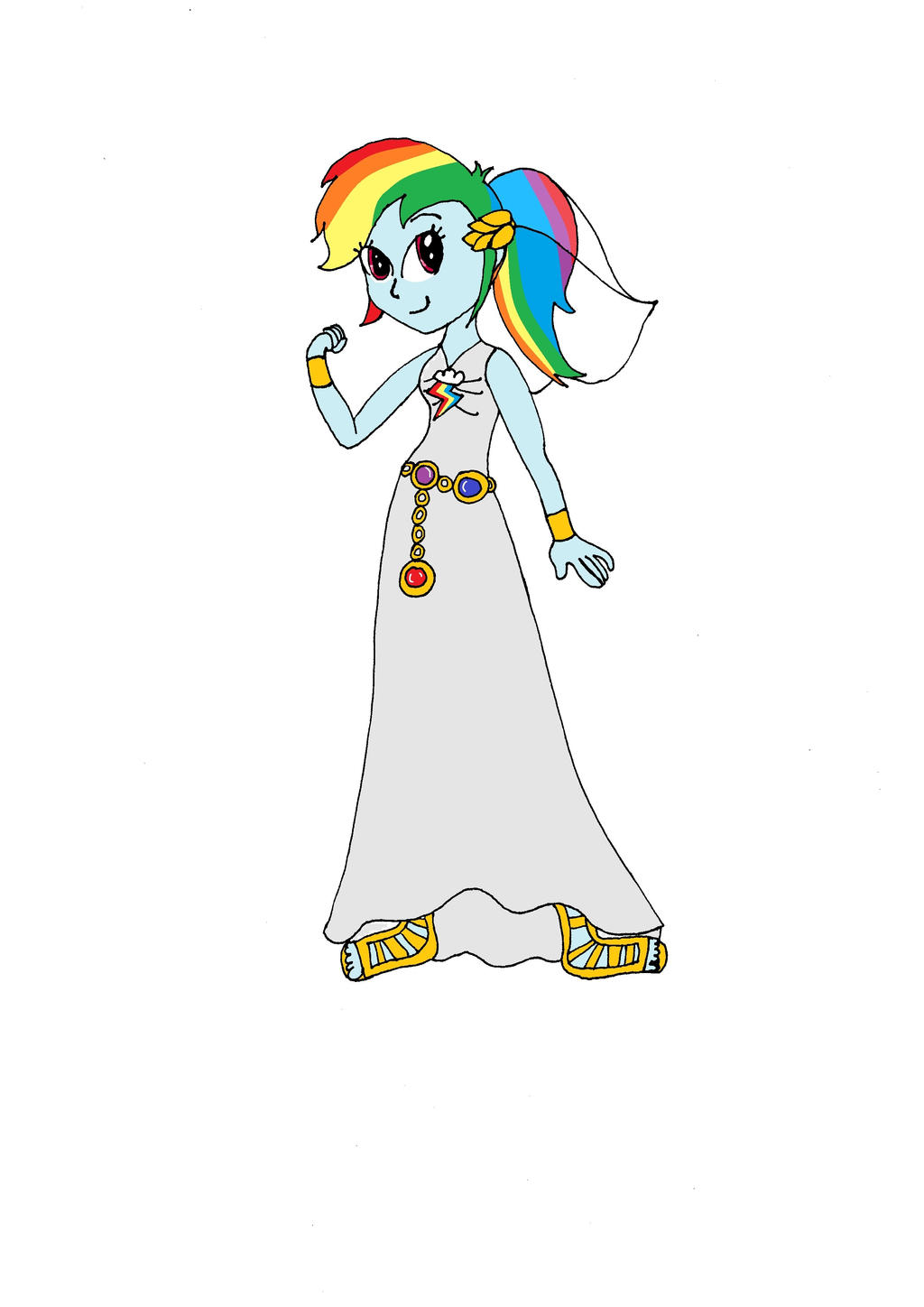Rainbow dash wedding dress by gratzalia on deviantart for Rainbow wedding dress say yes to the dress
