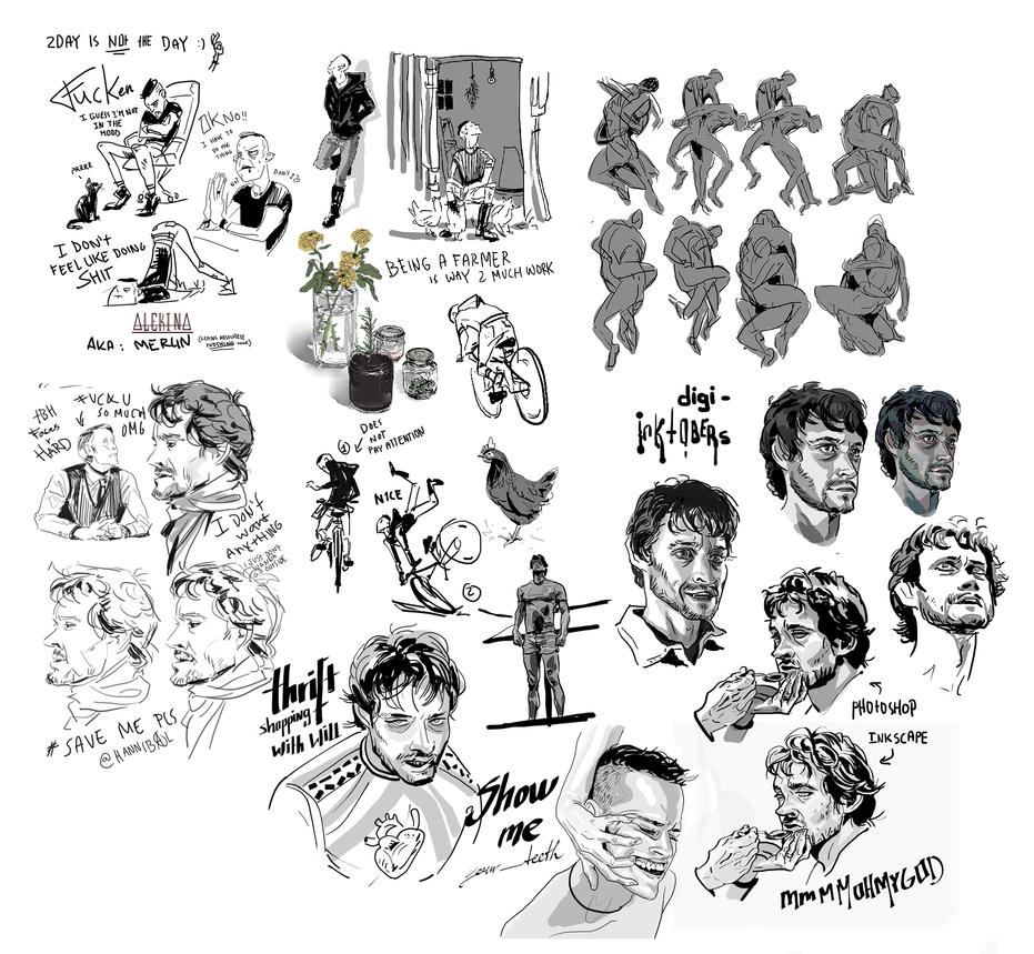 Digi-Inktober doodles by AlekinaArt