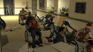 Video game wheelchair crossover race (Angle 1)