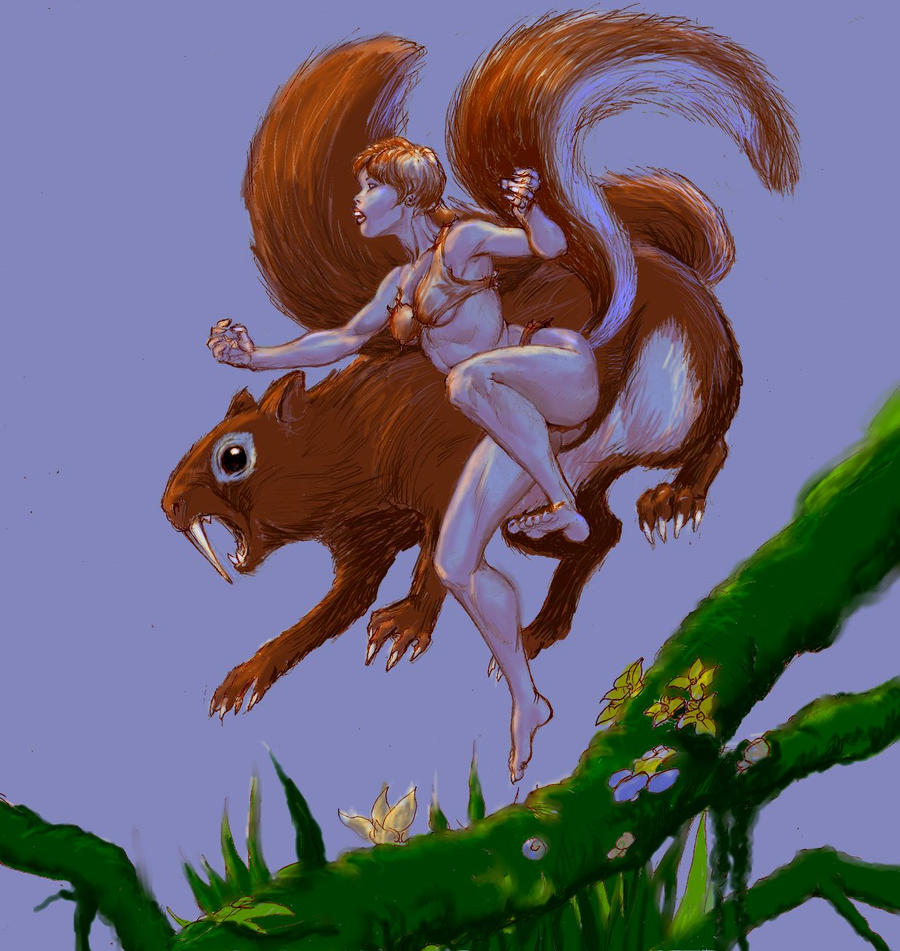 Cave-girl Squirrel Girl and Sabre-toothed squirrel