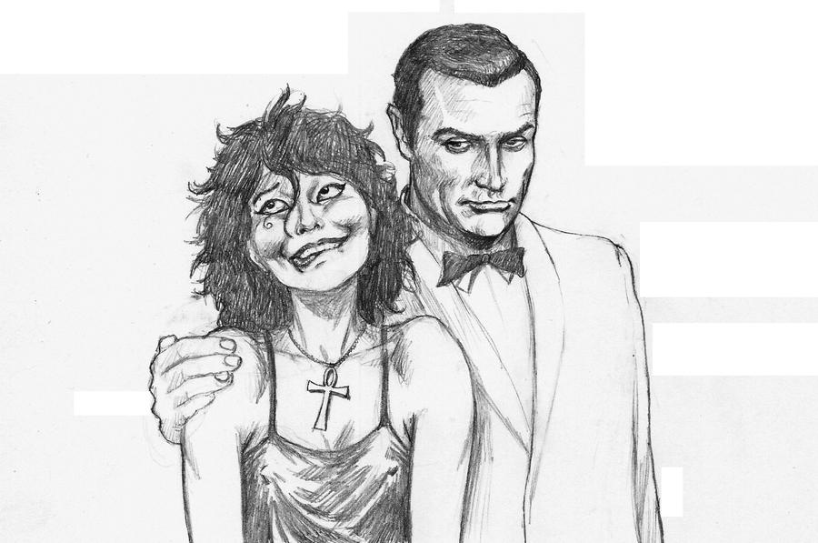 James Bond and Neil Gaiman's Death - pencil by Nick-Perks