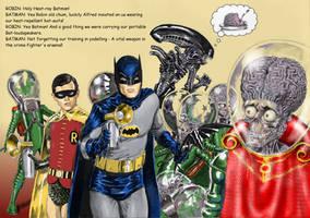 TLIID H.R.Giger tribute - Batman 66 vs Aliens by Nick-Perks