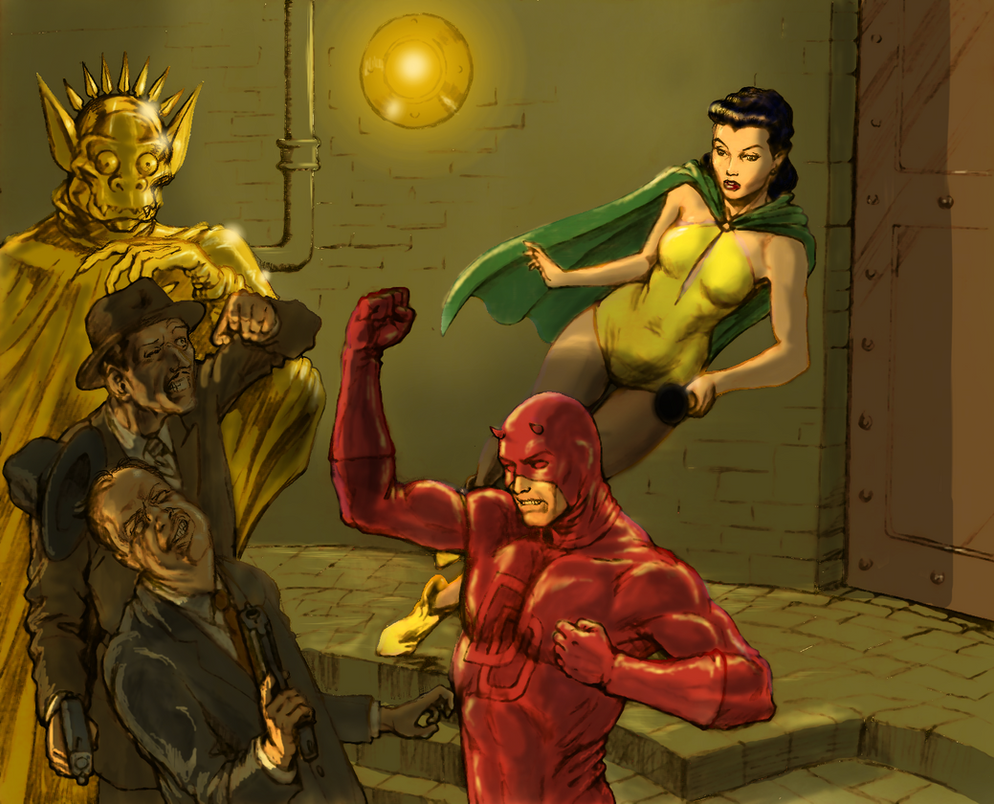 TLIID Daredevil anniversary - DD and Phantom Lady by Nick-Perks