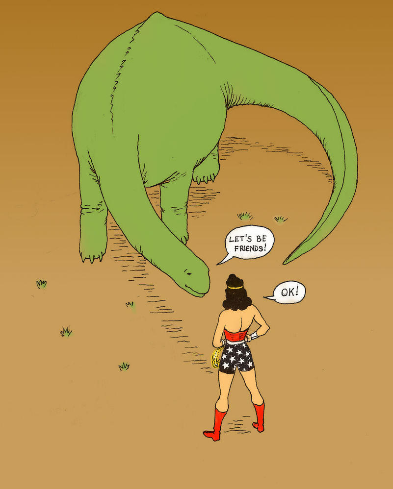 TLIID Wonder Woman for Amelia - Fighting dinosaurs by Nick-Perks