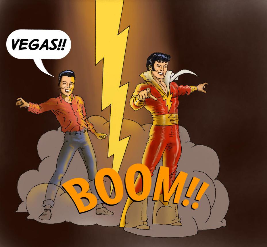 TLIID Superhero-rockstar mashups Elvis and Shazam by Nick-Perks
