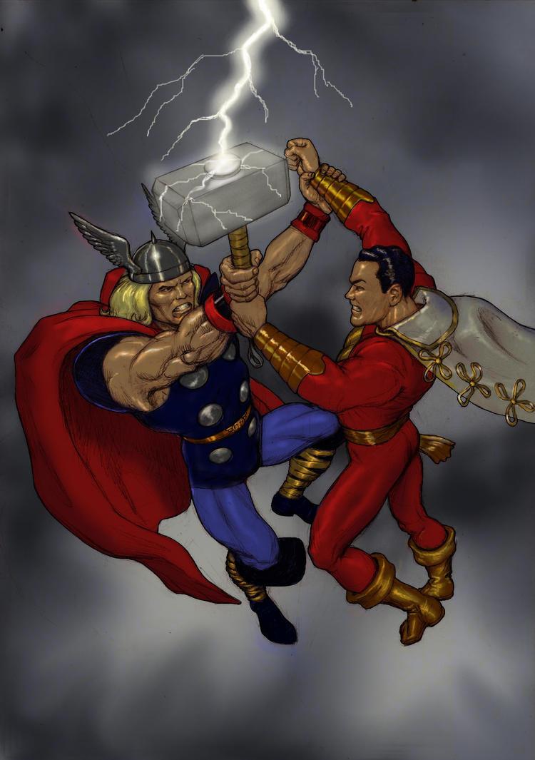 TLIID 246 Fight - Thor v Captain Marvel (Shazam) by Nick-Perks
