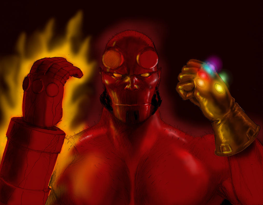 TLIID - The Infinity Gauntlet held by... Hellboy by Nick-Perks
