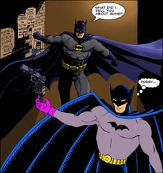 TLIID - Batman meets Golden Age Batman (colour) by Nick-Perks