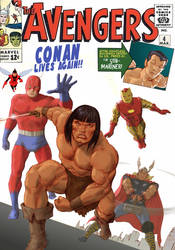 TLIID Conan on classic covers - Avengers 4 by Nick-Perks