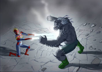 TLIID Captain Marvel meets... Doomsday by Nick-Perks