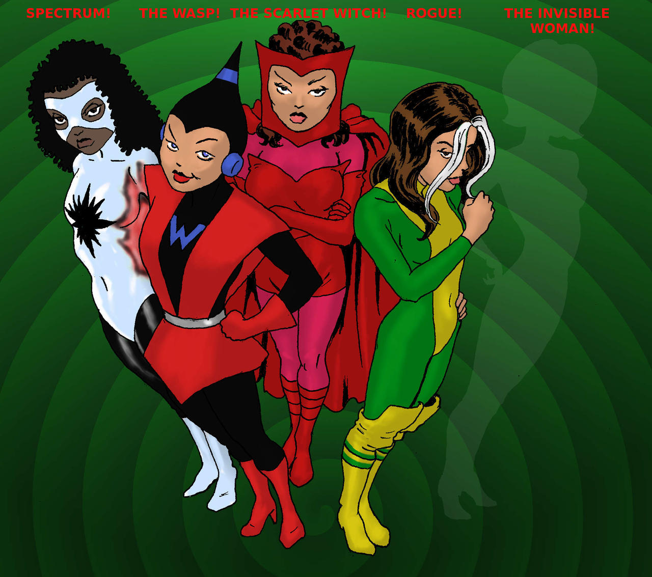 TLIID Avengers Line-up Wasp Spectrum Rogue Wanda By Nick