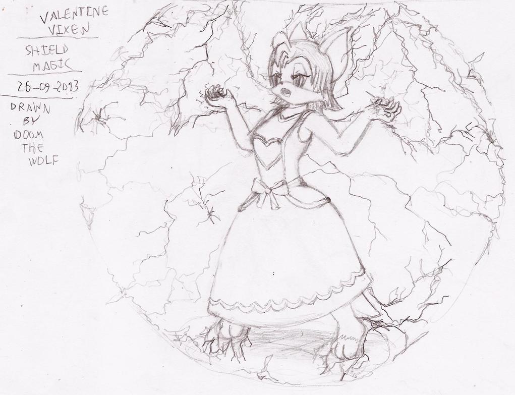 Valentine Vixen - Shield magic by Doom-the-wolf