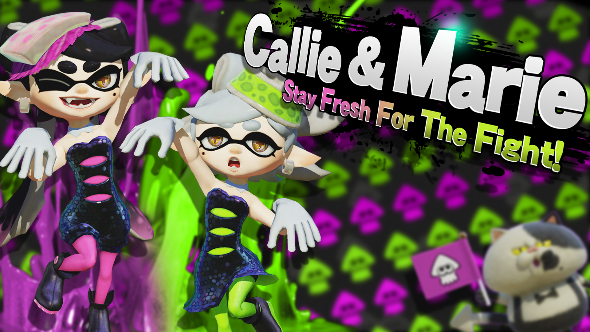 Callie And Marie Wallpaper: Smash Bros Splash Card By R-One-92 On