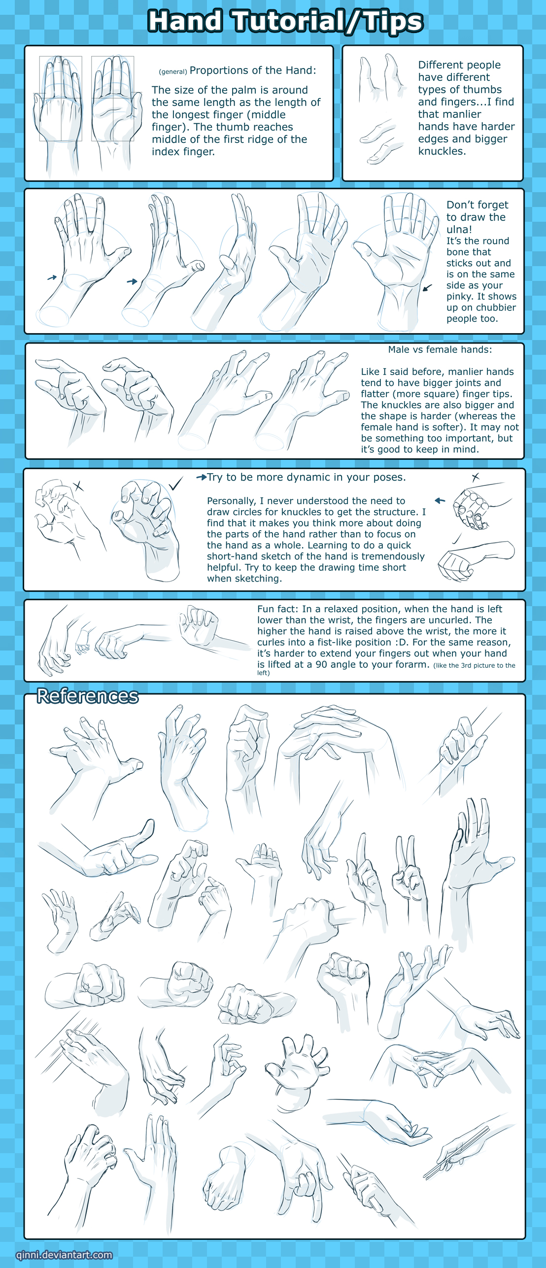 Hand Tutorial -Tips+Reference- by Qinni on DeviantArt
