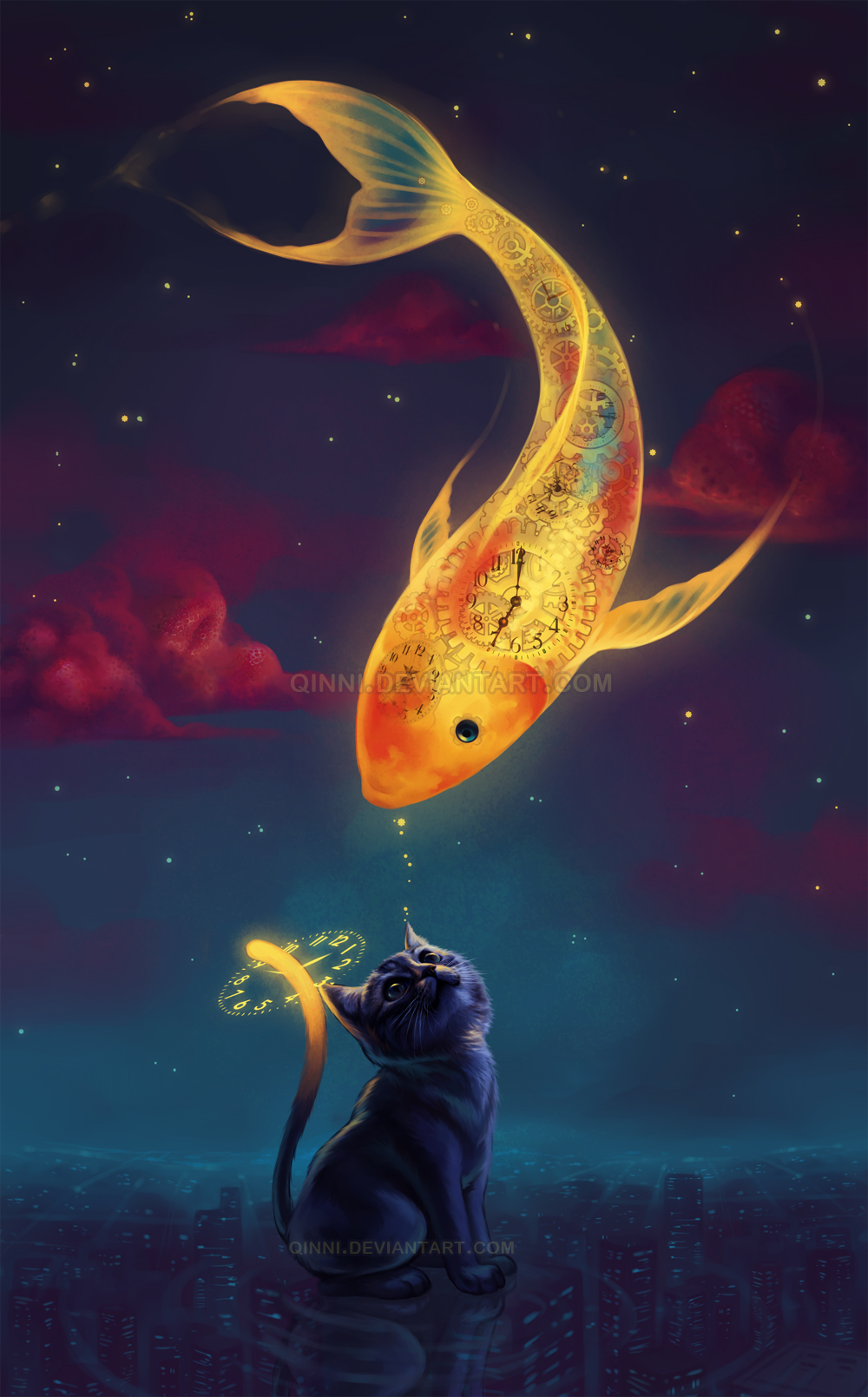 To catch a moon fish by qinni on deviantart for Koi fish artwork