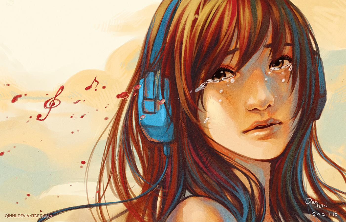 Music can both break... by Qinni
