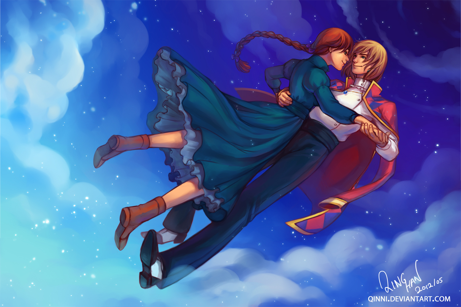 Howl and Sophie - Dancing on Clouds by Qinni on DeviantArt