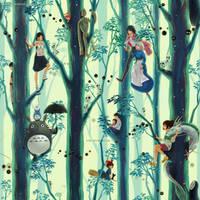 Miyazaki / Ghibli Tribute (repetitive wallpaper)