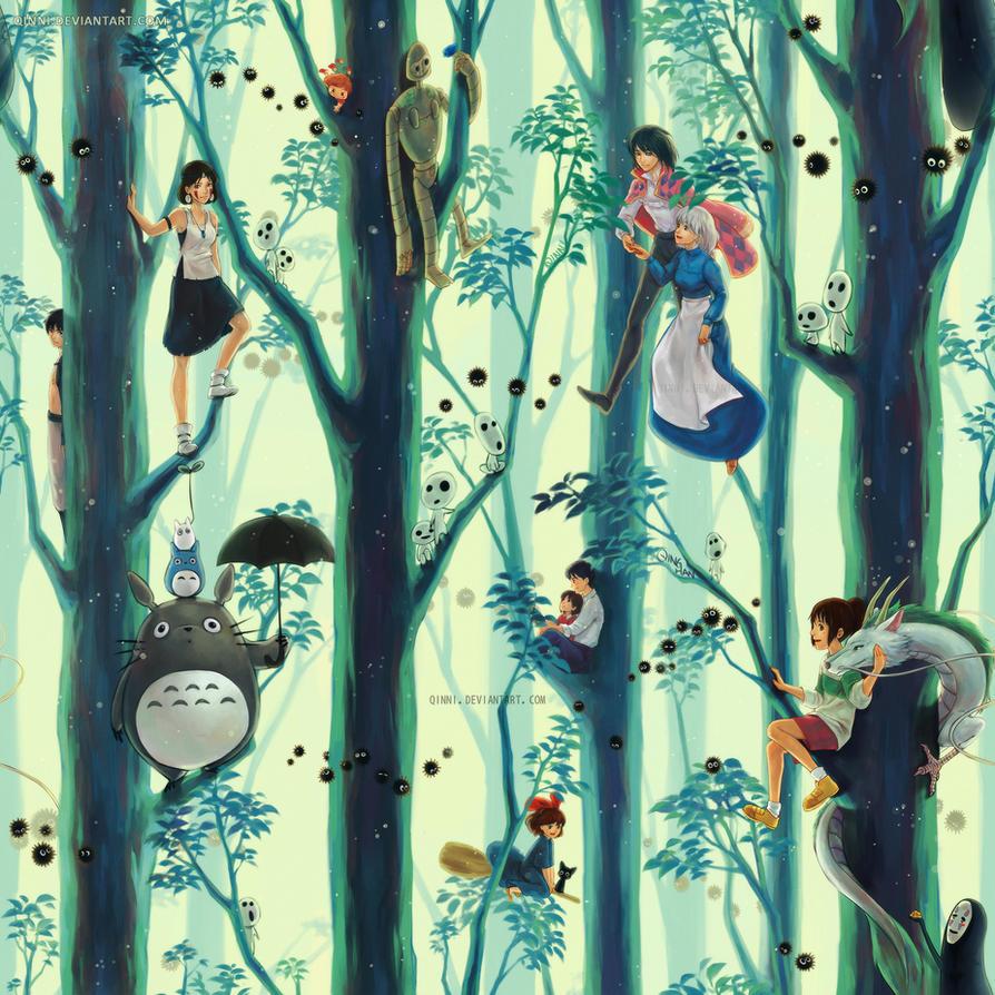 Miyazaki / Ghibli Tribute (repetitive wallpaper) by Qinni