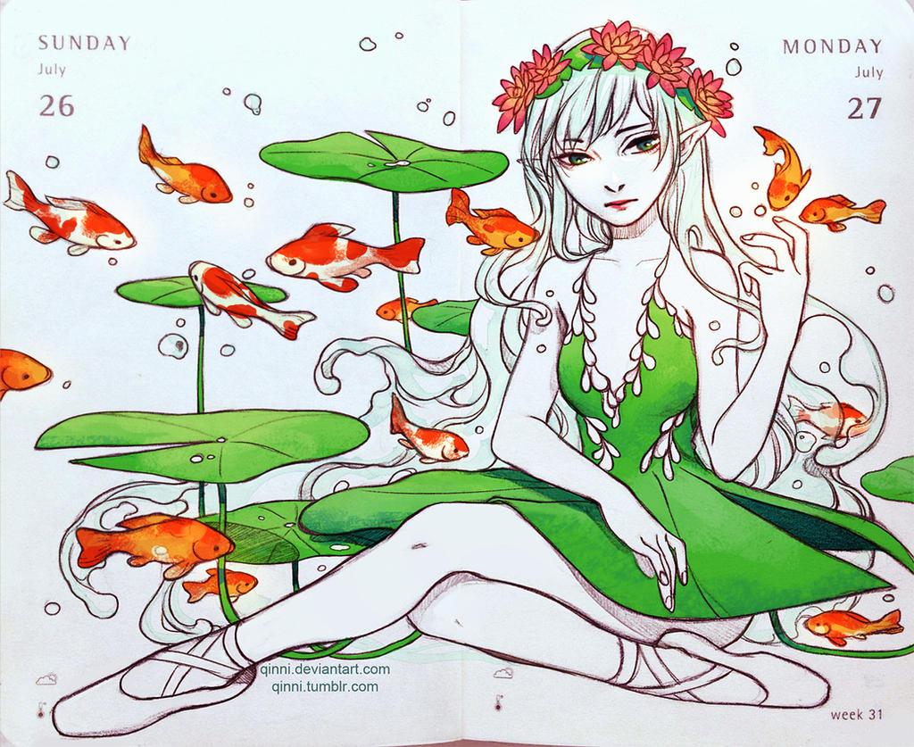 Koi pond ballet by qinni on deviantart for Koi fish pond art