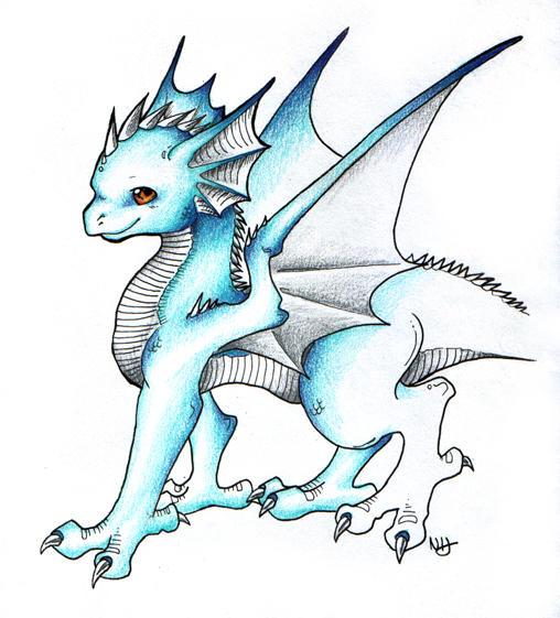 Cute Blue Dragon by fuzzbuzz