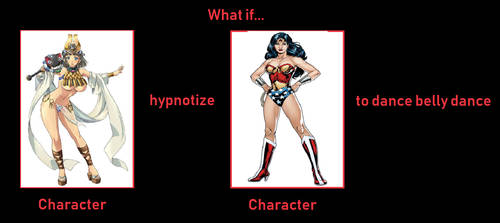 Menace hypnotize Wonder Woman to belly dance by oddonehere