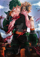 Bakugou Sacrifices Himself for Deku?! Etsy Com by White-Firefly-Artist